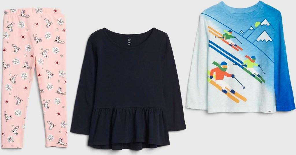 GAP kids leggings and two shirts