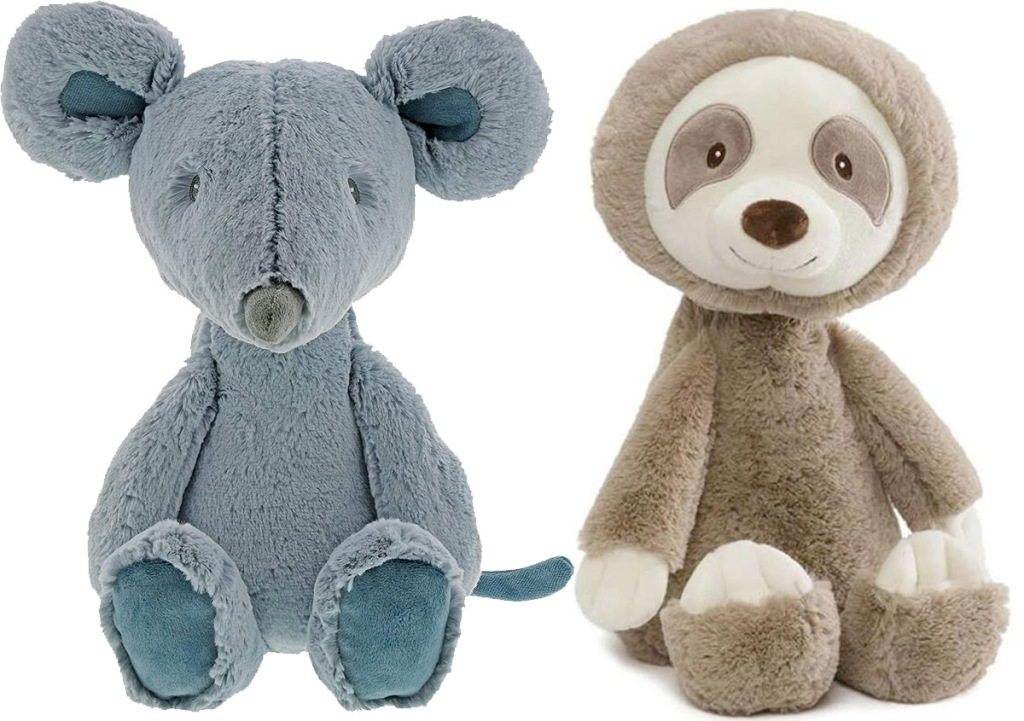 grey plush mouse and brown sloth stuffed toys