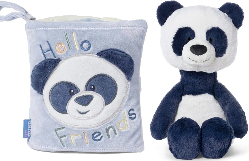 blue plush baby book with panda on front and carrying handle and plush panda toy next to it