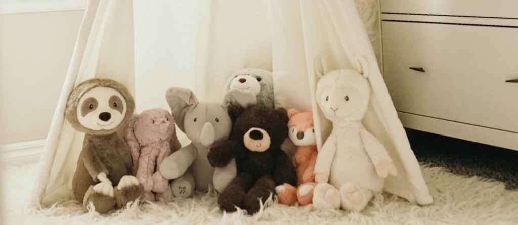 stuffed animals on the floor