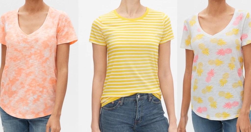 3 women wearing short sleeve t-shirts