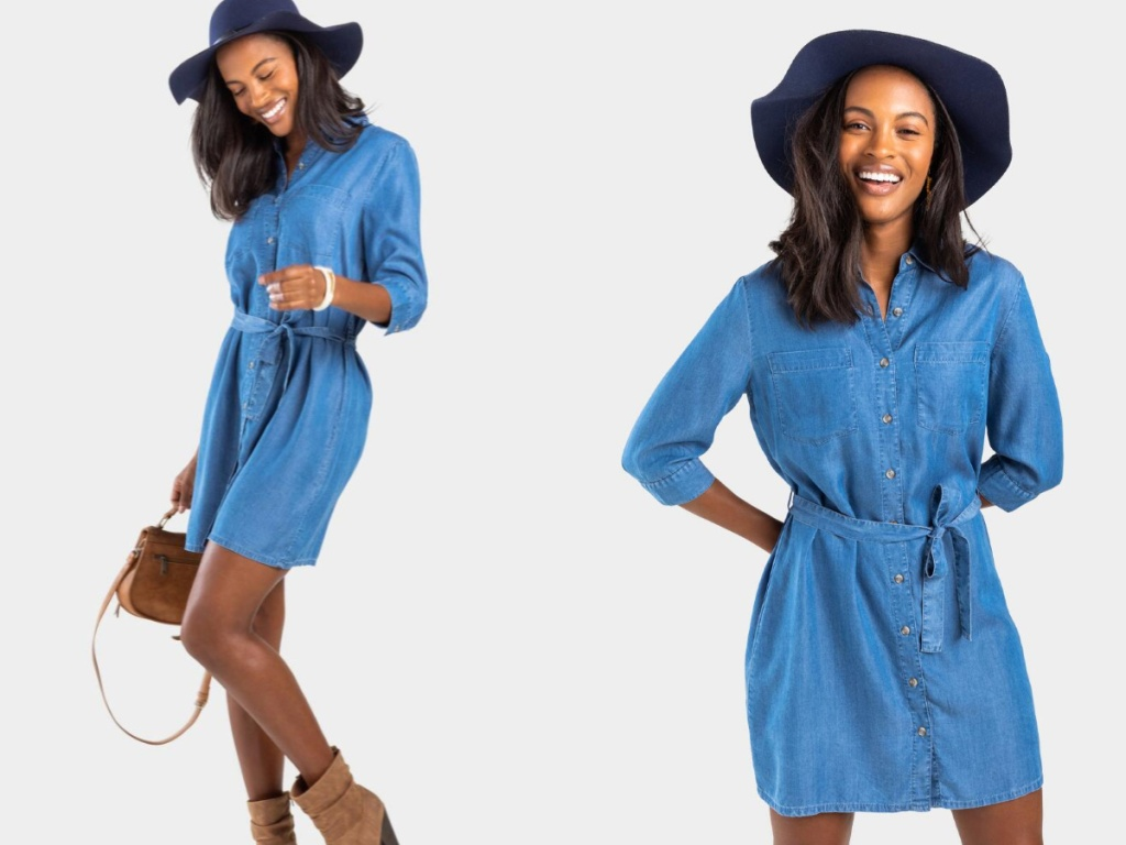 Gennie Chambray Shirt Dress on model with purse and hat