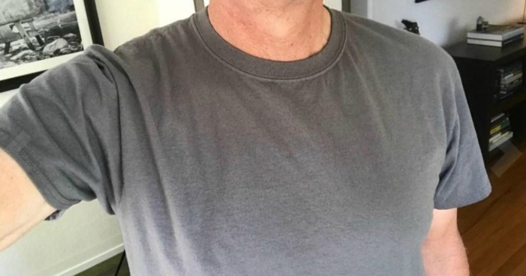 man in grey tee