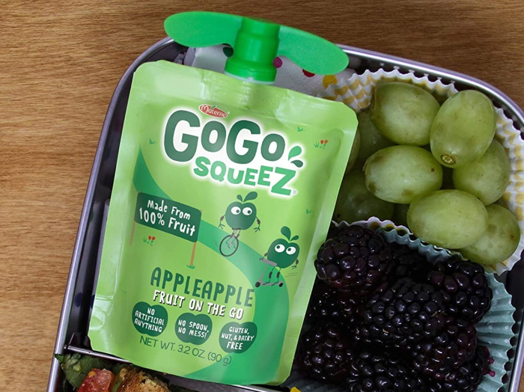 squeezable applesauce pouch in lunch box with green grapes and blackberries
