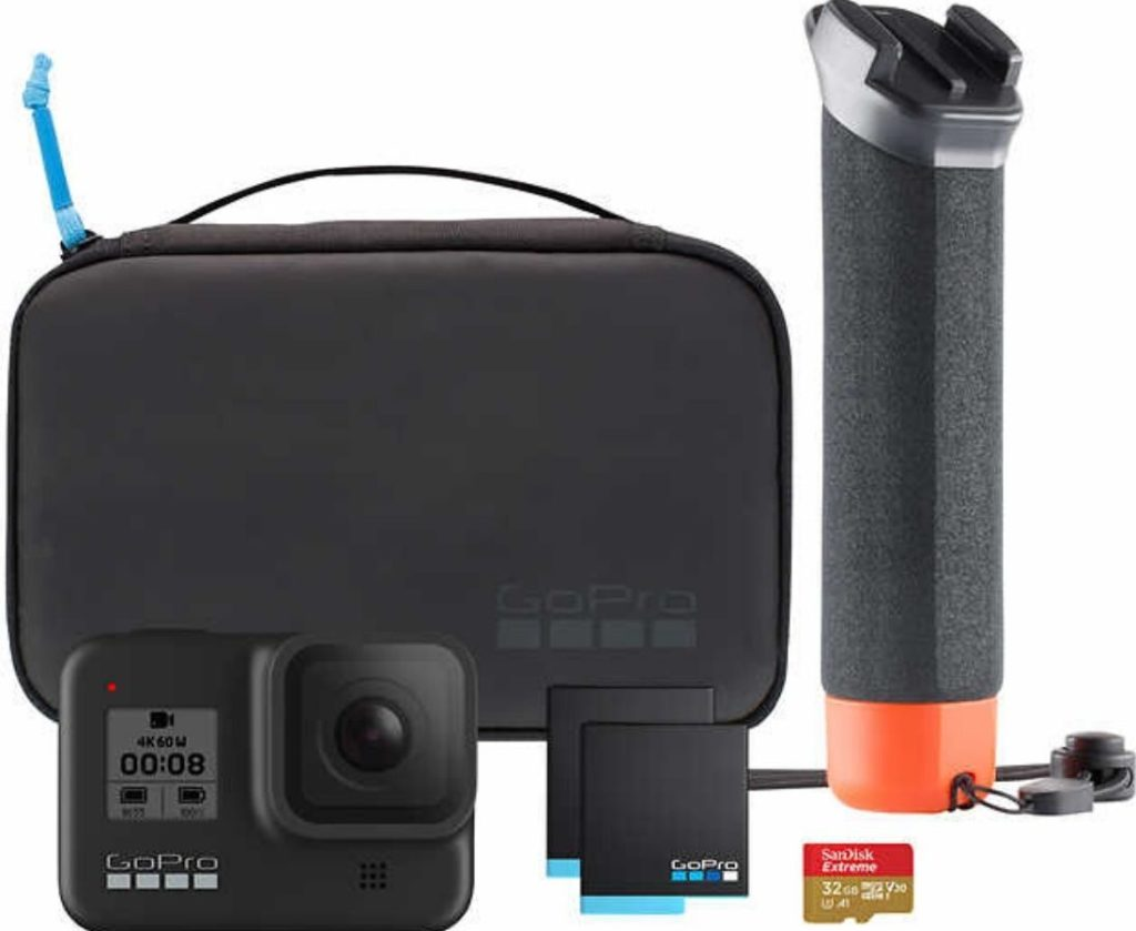GoPro camera bundle with case, extra battery, memory card, and handler stick