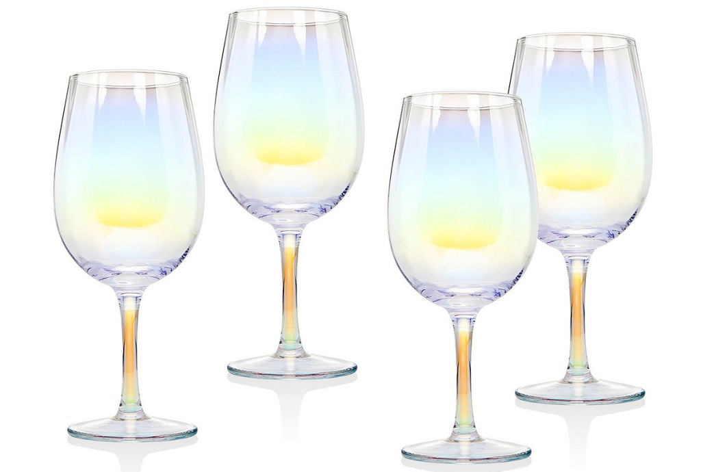 set of four wine goblets with rainbow tint