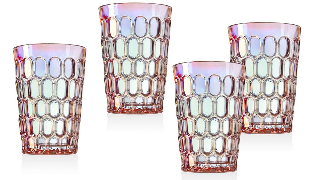 set of four glass tumblers with honeycomb design and rainbow tint