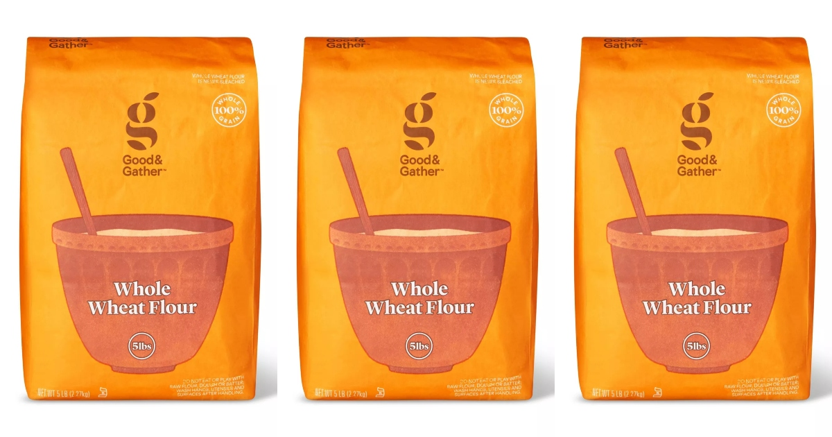 three bags of whole wheat flour
