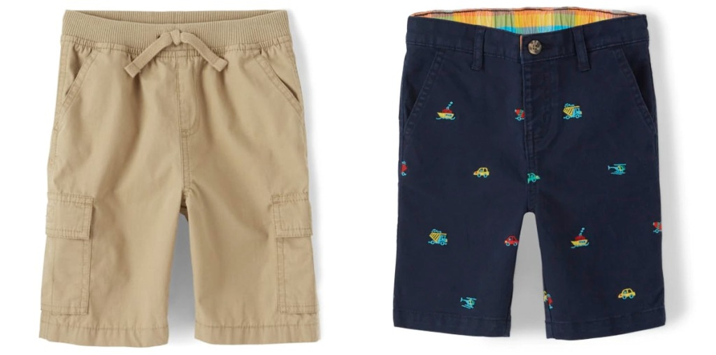 two pairs of toddler boys shorts in kahki and navy blue with embroidered cars