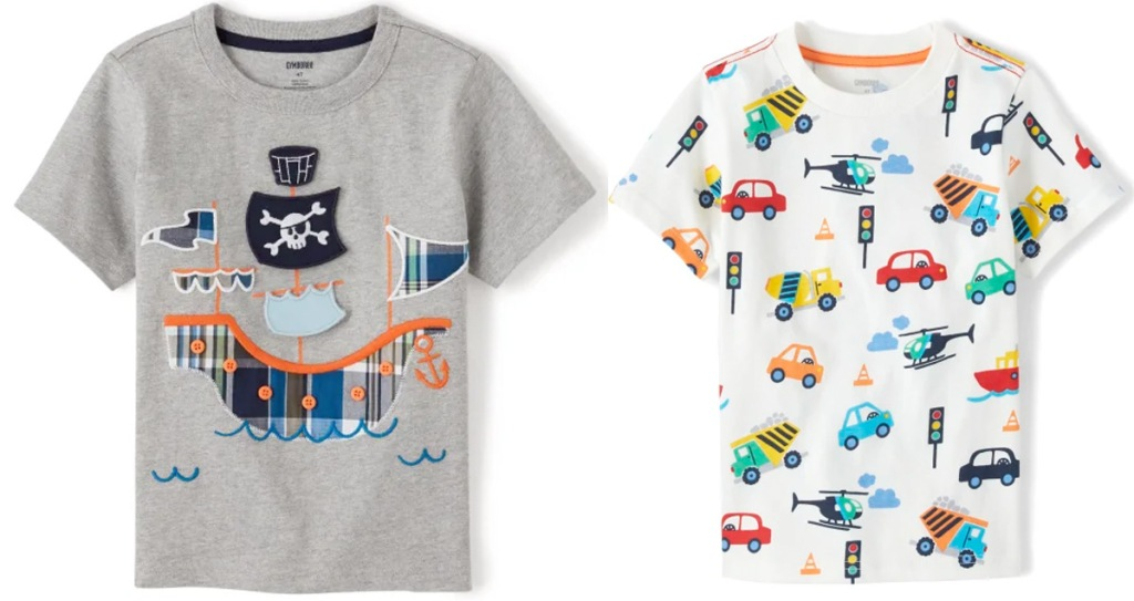 two toddler boys tees with a pirate print and all over vehicle print