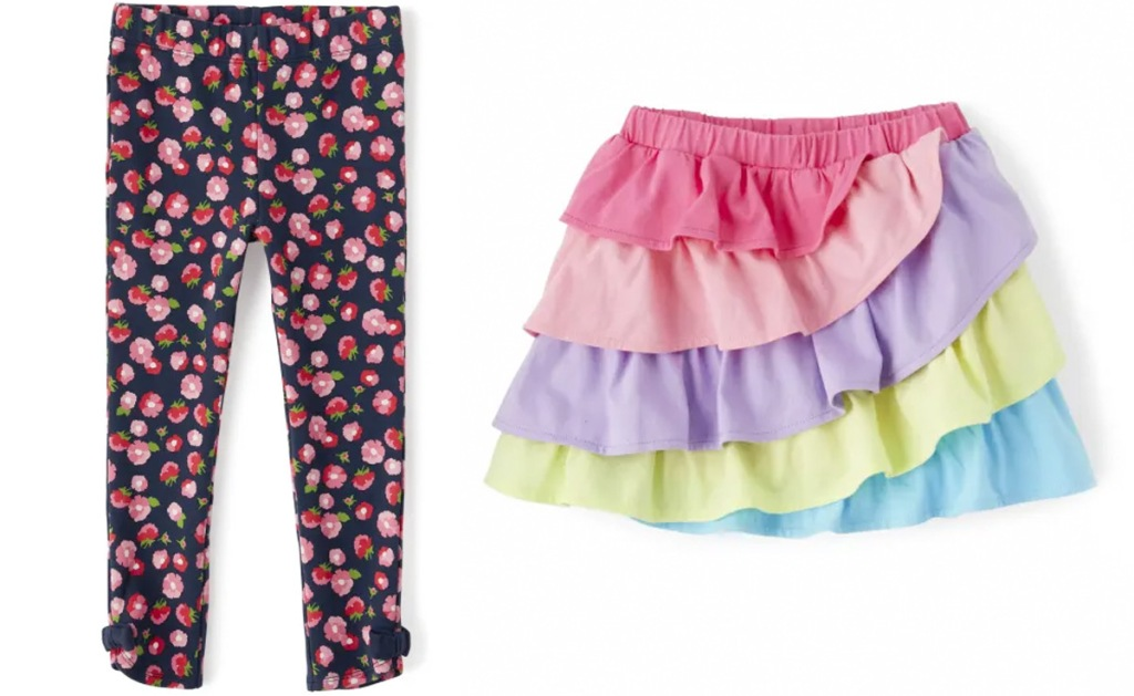 pair of navy blue with pink floral print girls leggings and multi colored layer girls skirt
