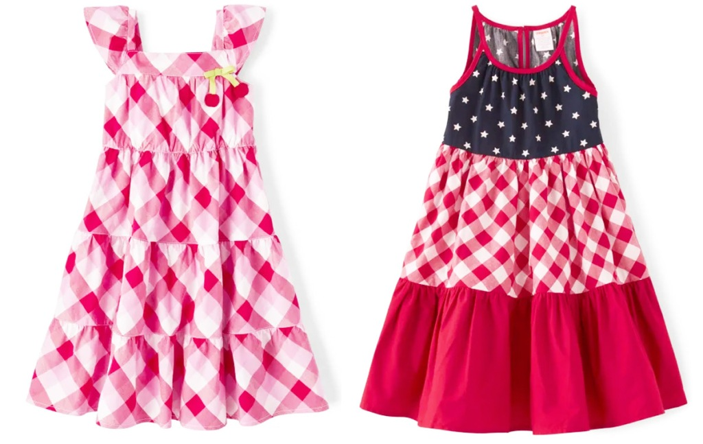 pink and white gingham girls dress and red white and blue layered girls dress