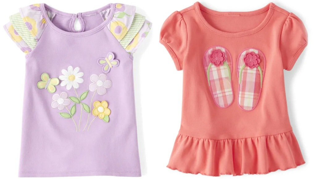 toddler girls shirts in purple with flowers on it and pink with flip flops on it