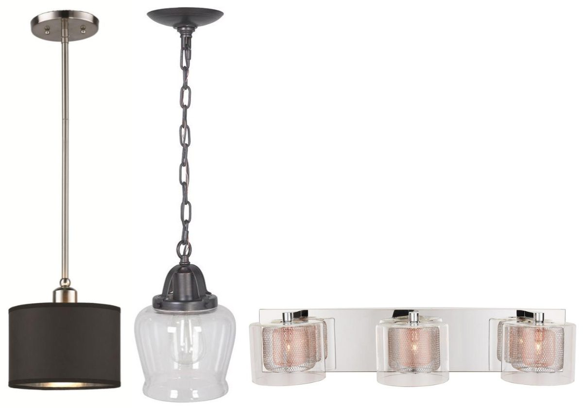 two hanging lights and vanity light