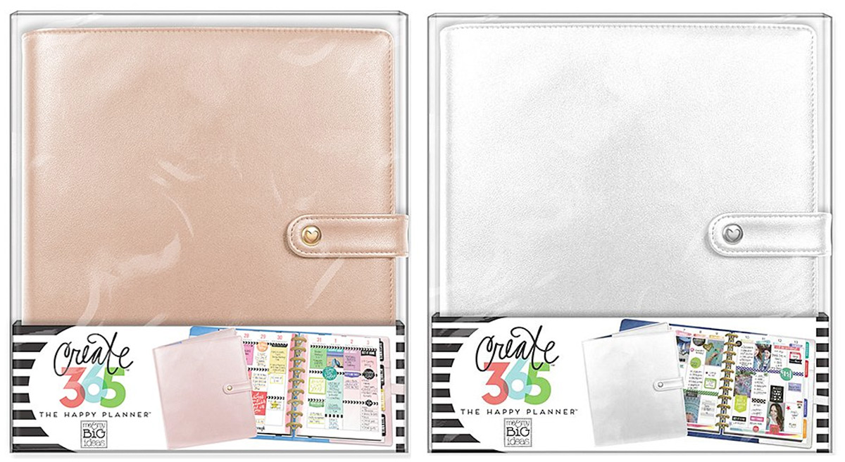 rose gold and silver happy planner covers