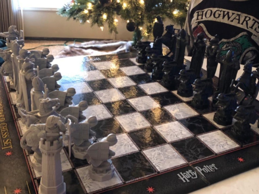 boy sitting behind harry potter chess set all set up and ready to play
