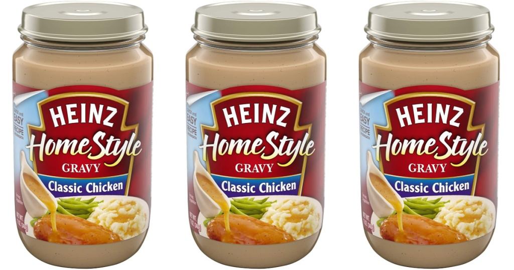 3 jars of heinz classic chicken gravy lined up together