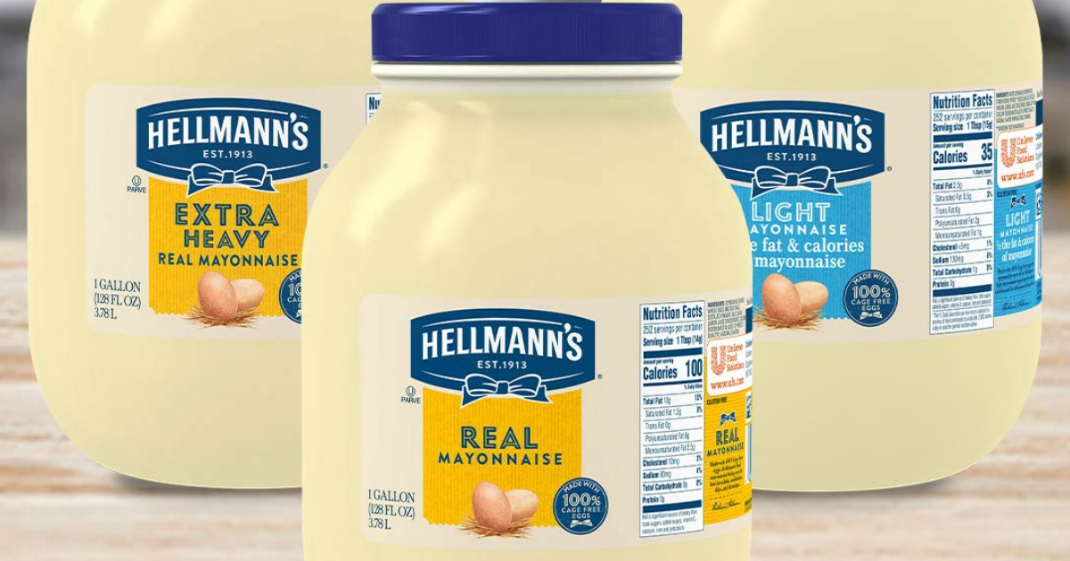 Hellman's brand mayonnaise in giant jars
