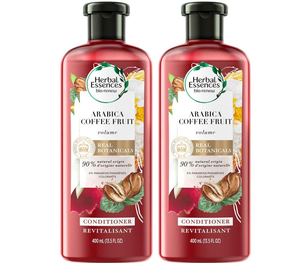 two red bottles of herbal essences biorenew arabica conditioner