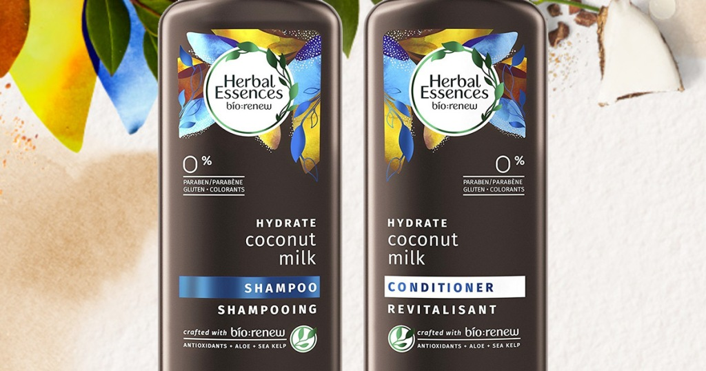 two brown bottles of herbal essences coconut milk shampoo and conditioner