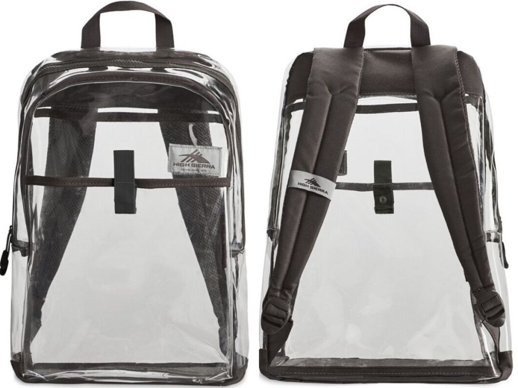 clear backpack front and back