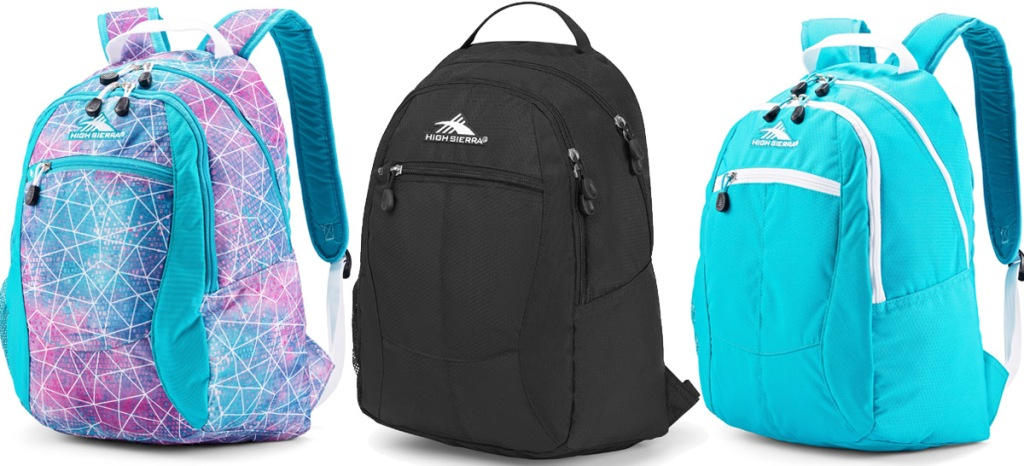 three backpacks with a curve top zipper, in pink and blue geometric print, plain black, and bright teal colors