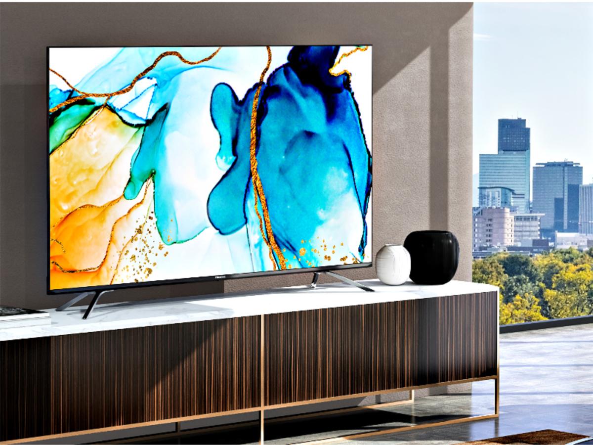 Hisense Quantum Series 55-Inch Android 4K ULED Smart TV in livingroom