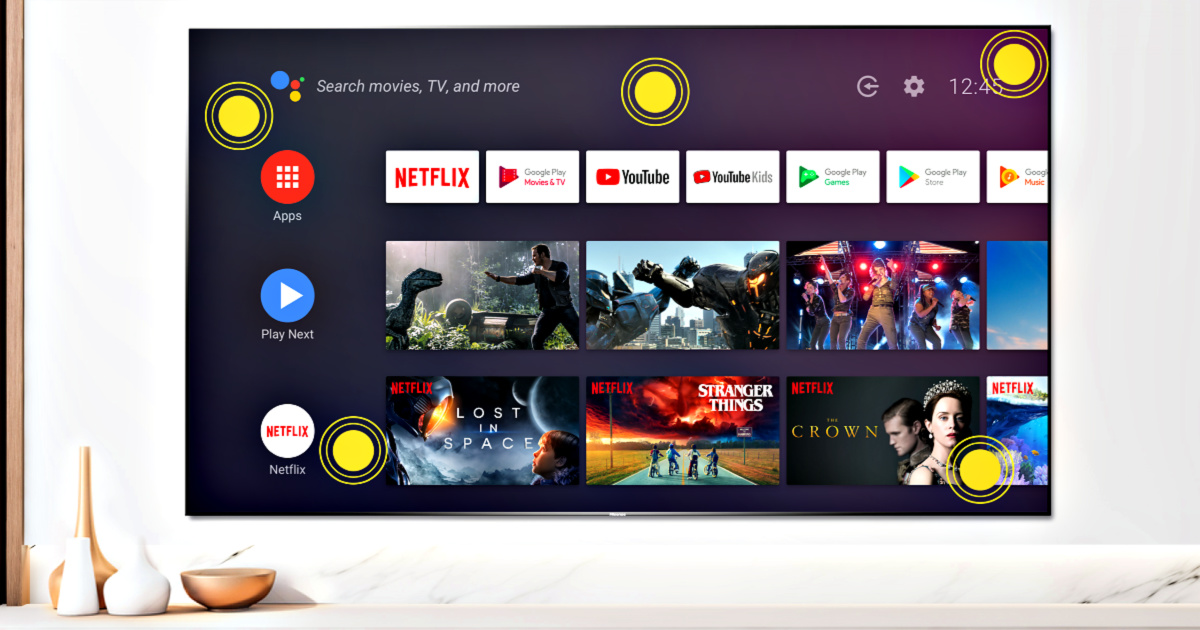 Hisense Quantum Series 55-Inch Android 4K ULED Smart TV on wall in livingroom