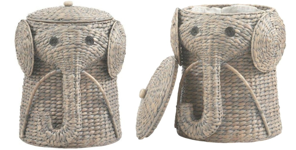 two views of a grey elephant shaped basket laundry hamper, one with lid off