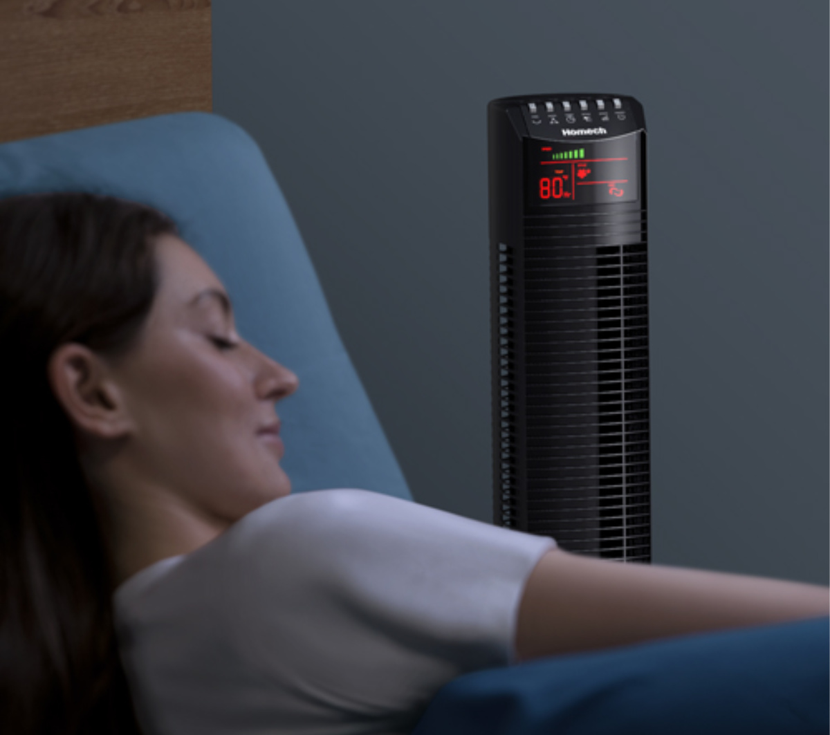 woman sleeping with hometech tower fan