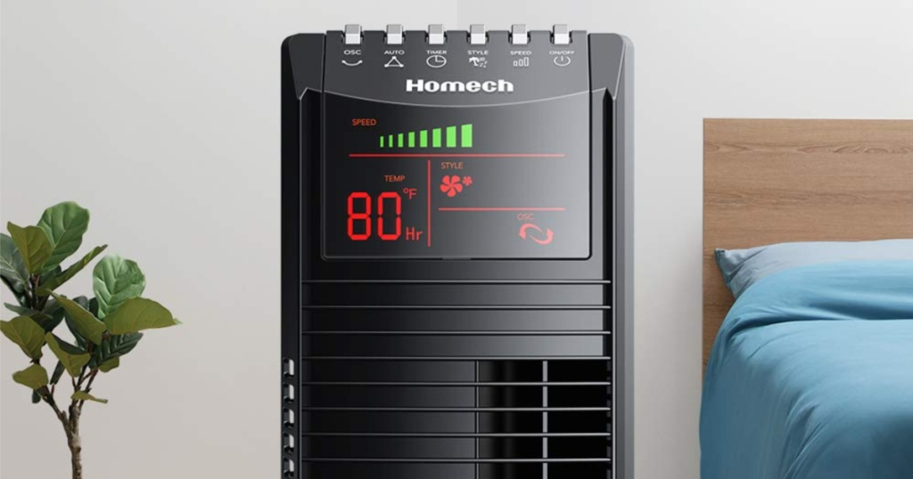 Hometech tower fan in bedroom with air set to 80 degrees