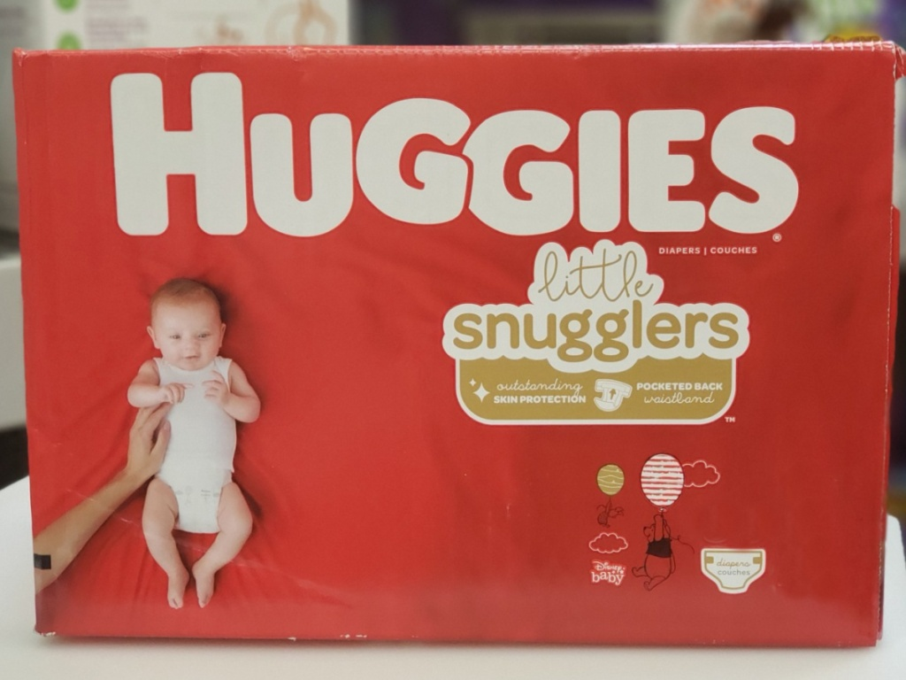 Huggies Little Snugglers Diaper Box sitting on shelf in store