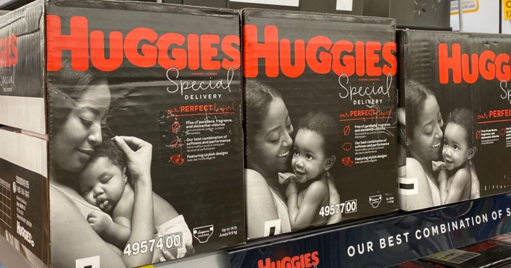 multiple Huggies Special Delivery Boxed Diapers sitting on store shelf