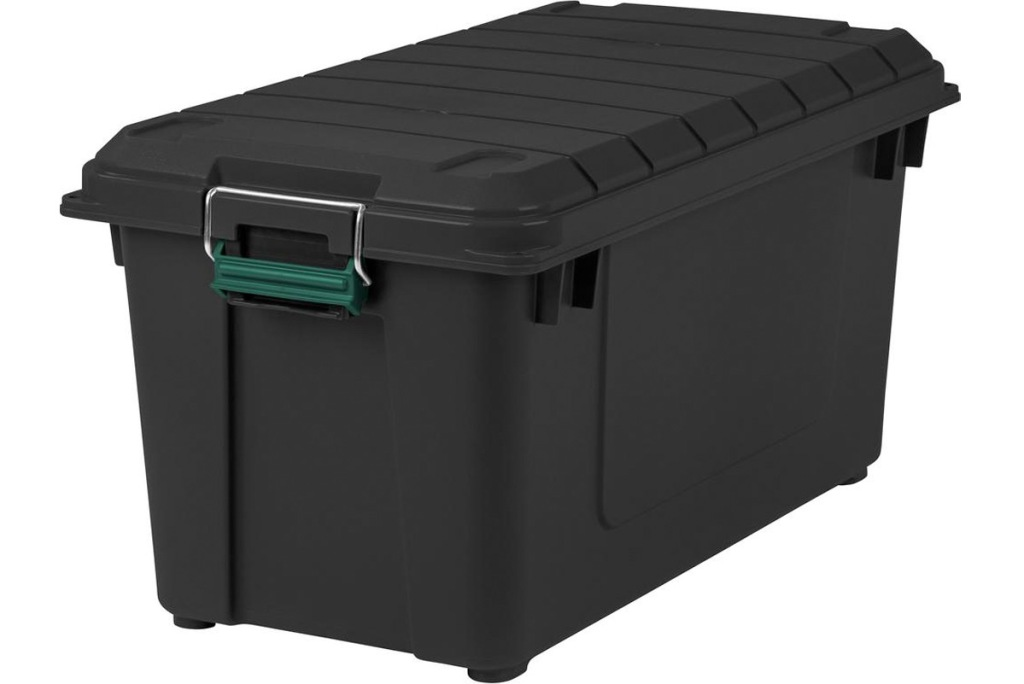 large black plastic storage container with silver and green latching handle