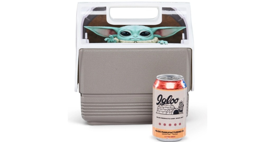 Igloo cooler with The Child next to a can