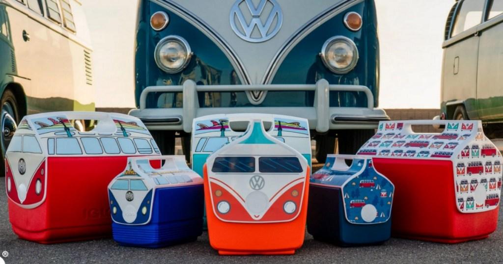 Igloo Volkswagen Coolers in front of VW bus