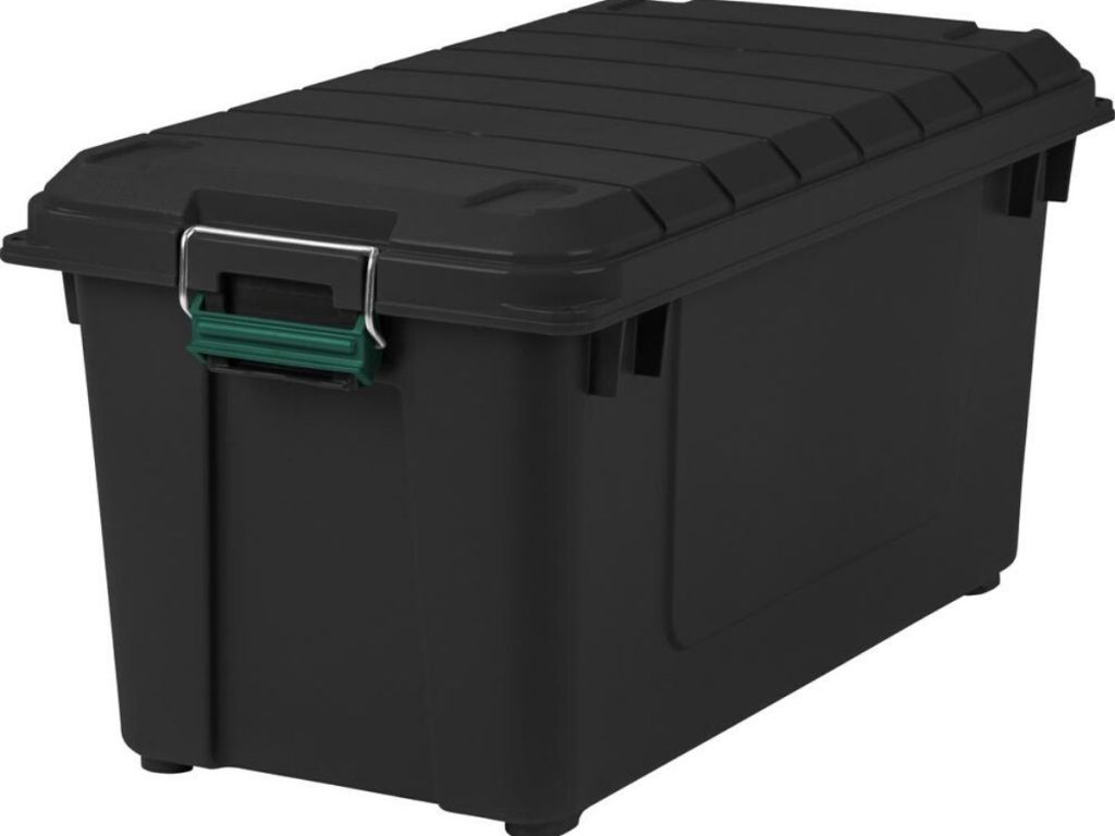 large black heavy duty storage bin with lid
