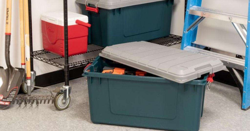 heavy duty storage container and storage shelf in garage