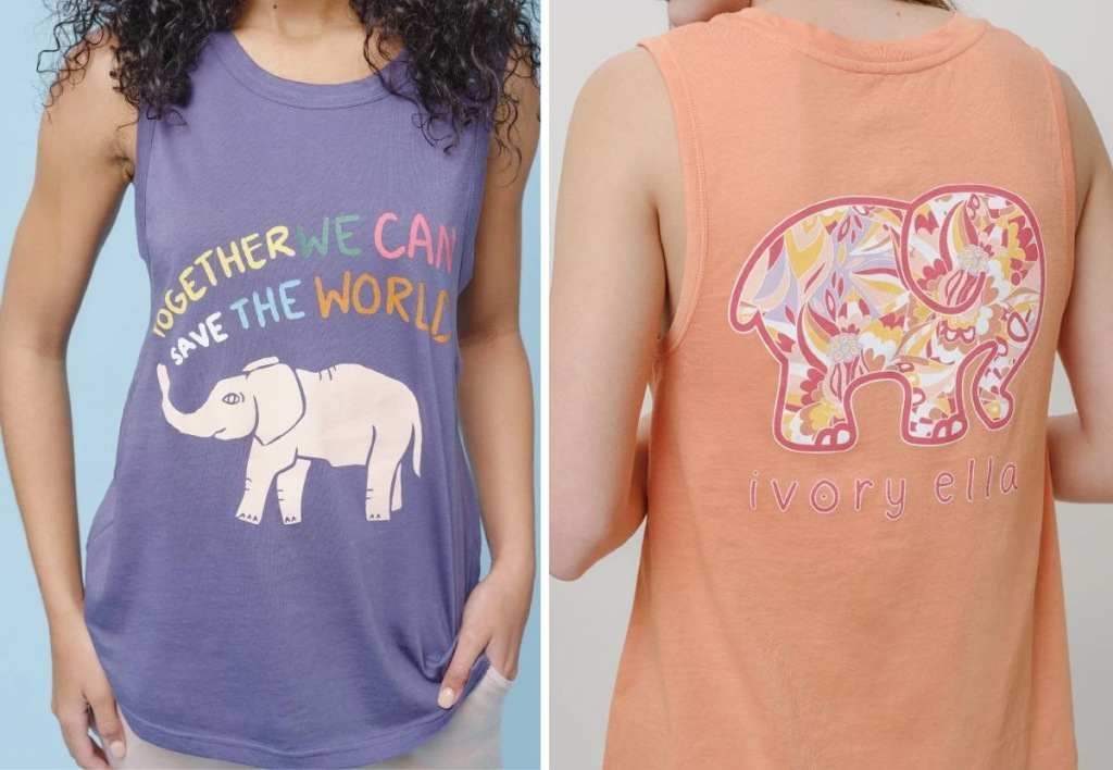 woman in purple tank with elephant graphic and orange tank with elephant graphic on back