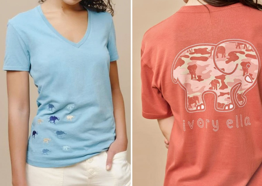 women in blue v-neck shirt with embroidered elephant on side and woman in orange shirt with elephant graphic on back