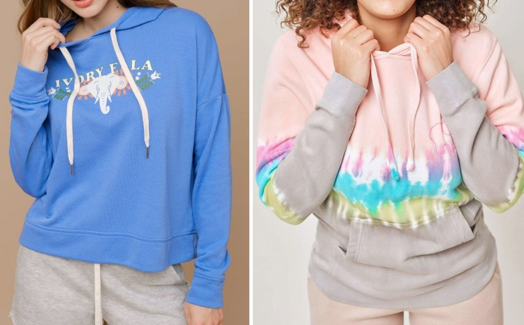 navy blue sweatshirt with white elephant graphic and tie-dye hoodie