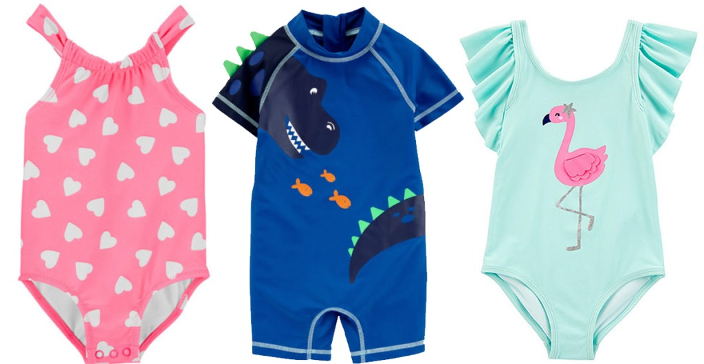 baby swimwear, one pink one piece with white hearts, blue dinosaur rash gurd, and teal on piece with flamingo