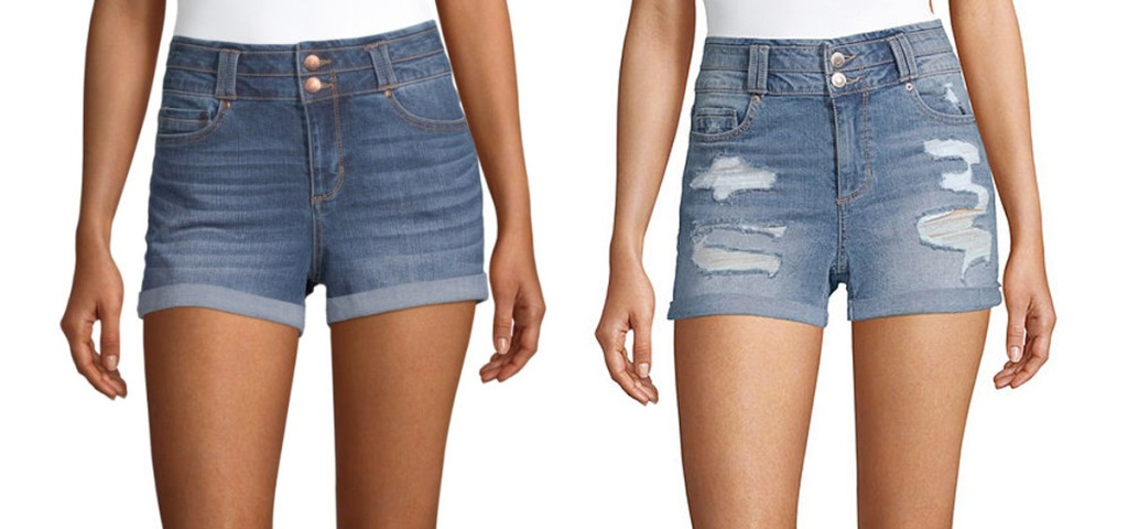 two women modeling denim shorts with rolled cuffs