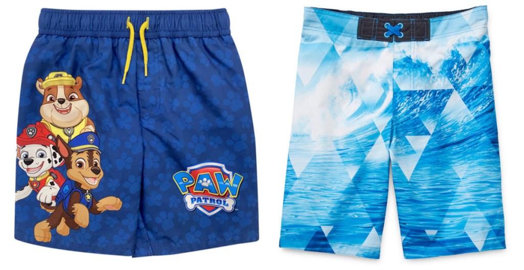 boys blue paw patrol swim trunks and boys blue waves swim trunks