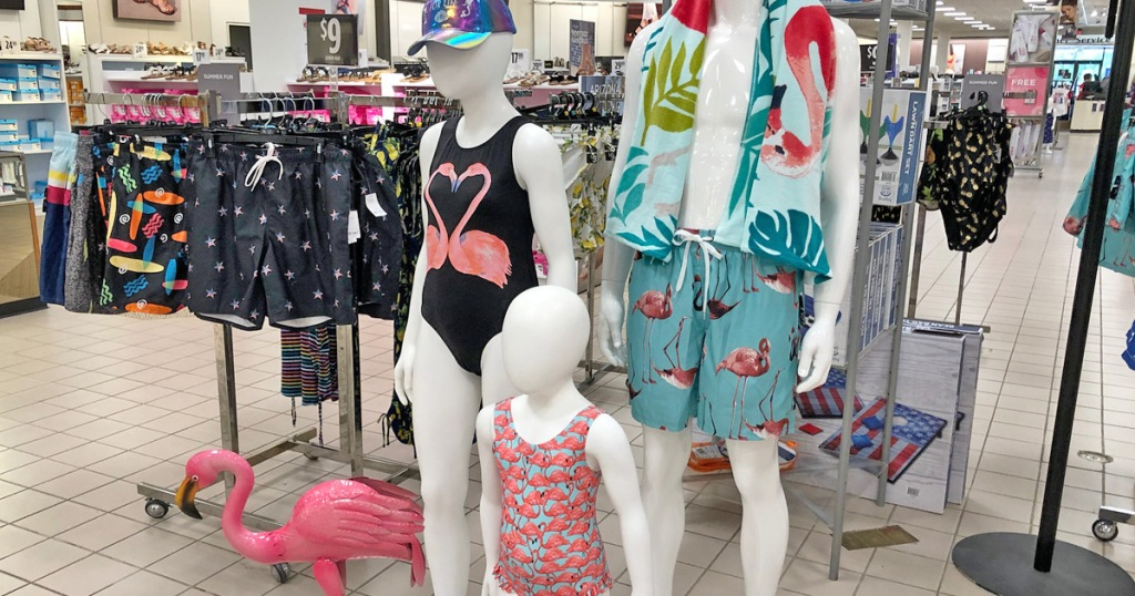 family of store display mannequins in flamingo swimwear