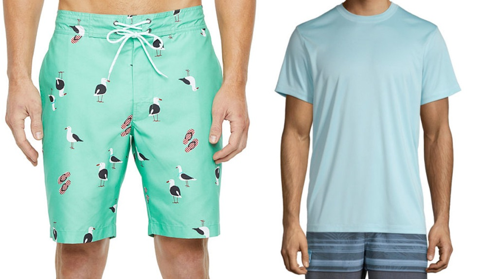 mint green swimtrunks with seagulls print and light blue swim shirt