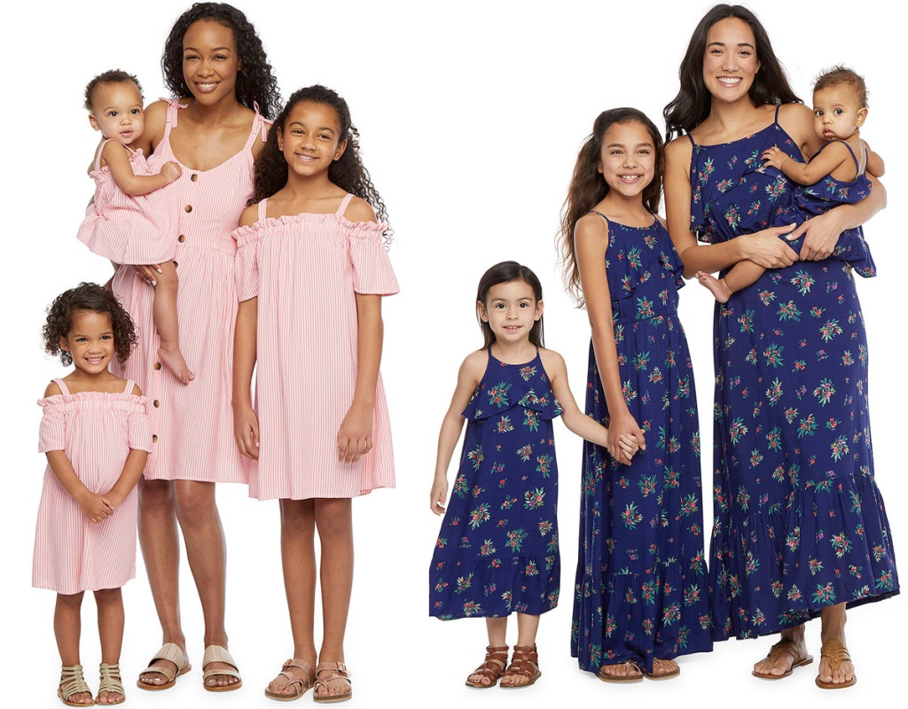 two sets of mothers with their daughters wearing matching dresses in pink stripes and navy floral patterns