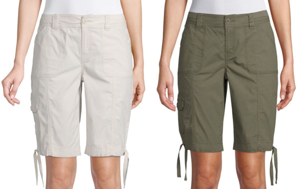 two women modeling bermuda shorts with ties at bottom in cream and olive green colors