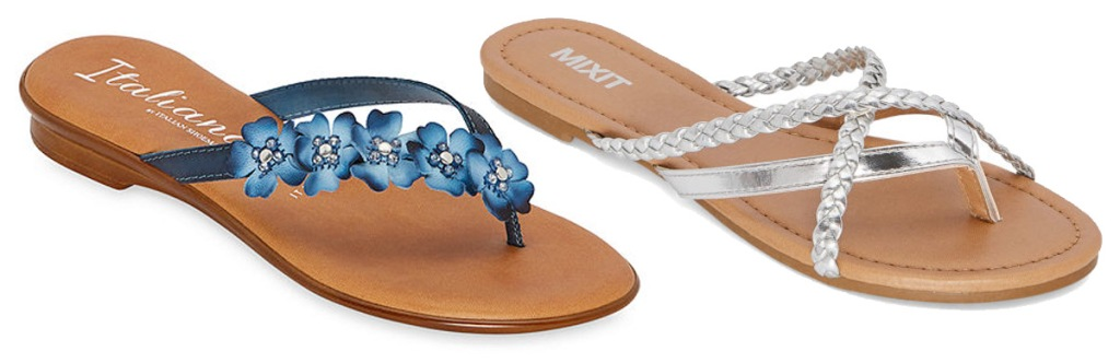 blue womens sandal with flowers on strips and silver braided strap sandal