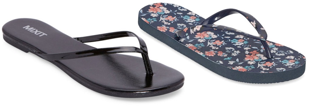pair of womens black flip-flops and floral printed flip-flops